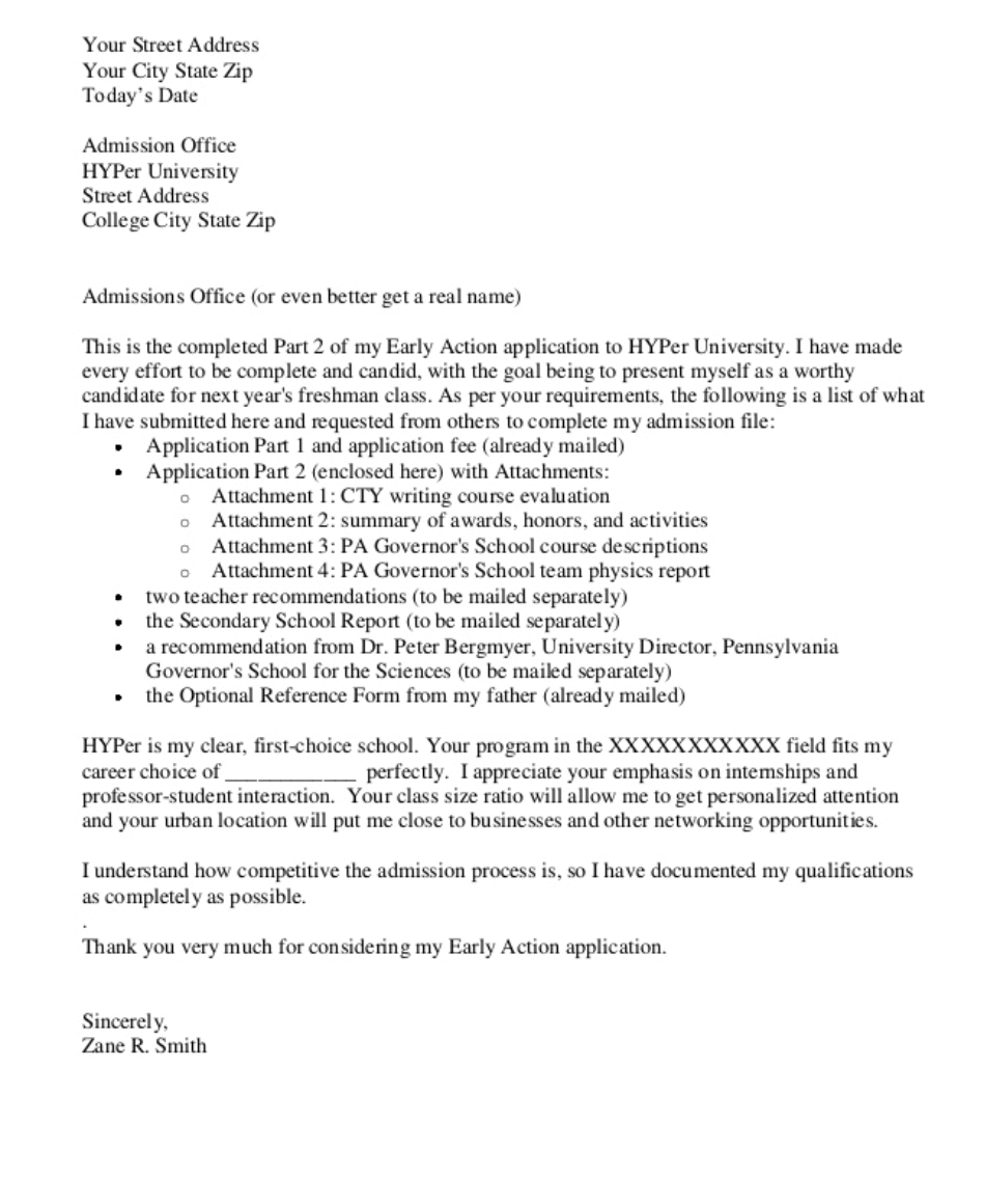 Cover letter of application for admission